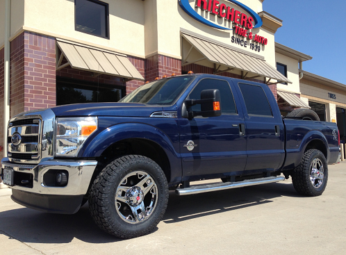 Custom wheels installed on truck